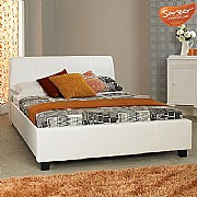 Modena Bed Frame (White Faux Leather) - SAR