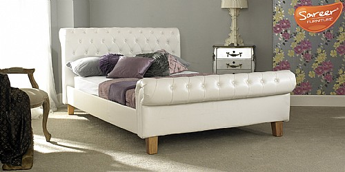 Richmond Bed Frame (White Faux Leather) - SAR