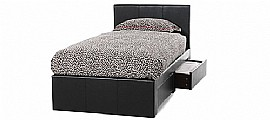 Latino Faux Leather Bed Frame with Drawers (Brown) - Serene