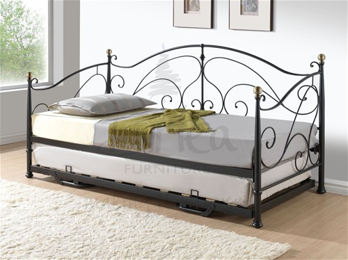 Milano 3ft Day bed with Guest bed (Black/ Brass) - Birlea