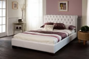 Aries Bed Frame (White Faux leather) - Limelight Beds
