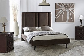 Ambassador Fabric Bed Frame (Mocha Faux Suede) - Limelight Beds