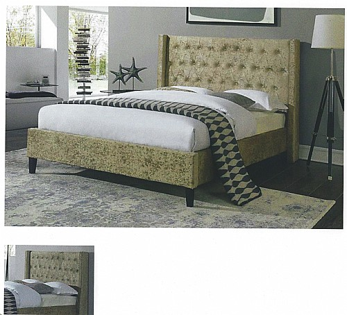 Apsara Fabric Bed Frame (Mink or Silver Crushed Velvet) - Ambers International