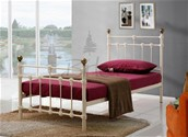 Atlas Single Metal Bed Frame  (Cream/Brass) - Birlea Furniture