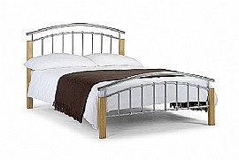 Aztec Metal Bed Frame (Aluminium/Oak Finish) - Julian Bowen