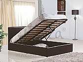 Berlin Ottoman Storage Bed (Brown Faux Leather) - Birlea Furnishings