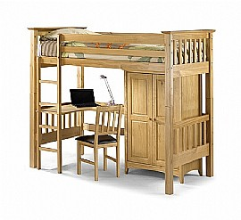 Bedsitter High Sleeper/Study Bunk (Antique Pine) - Julian Bowen