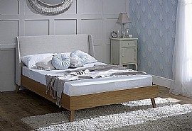 Bianca Bed Frame (Oak/Oatmeal Fabric) - Limelight Beds