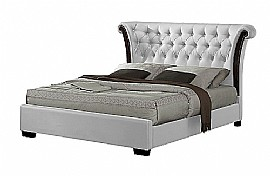 Chesterfield Faux Leather Bed Frame (White) - Ambers