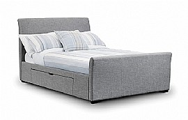 Capri Bed with Storage Drawers (Light Grey) - Julian Bowen