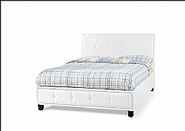 Catania Faux Leather Bed Frame (White) - Serene