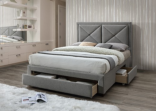 Cezanne Fabric Bed Frame with 3 Storage Drawers (Grey Marl) - Limelight Beds