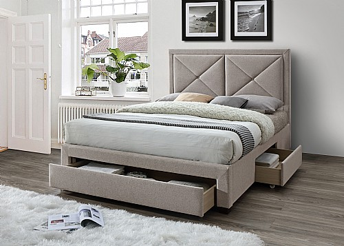 Cezanne Fabric Bed Frame with 3 Storage Drawers (Mink Velvet) - Limelight Beds