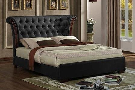 Chesterfield Bed Frame (Black Faux Leather)