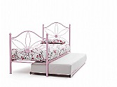 Daisy Single Metal Bed & Guest Bed (Pink Gloss) - Serene Furnishings