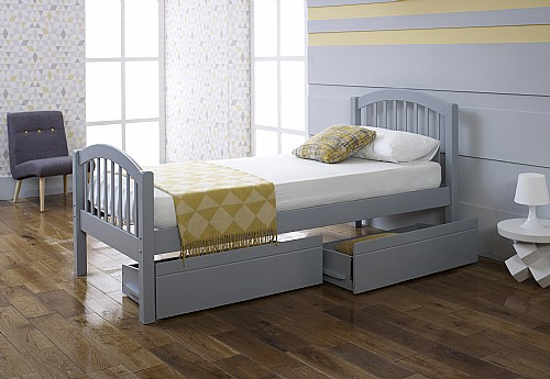 Despina Euro Single Bed Frame (Grey) with Optional Matching Drawers - Limelight Beds