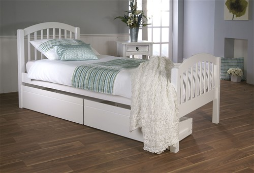 Despina Euro Single Bed Frame (White) with Optional Matching Drawers - Limelight Beds