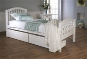 Despina Euro Single Bed Frame (White) with Optional Matching Drawers - LLB