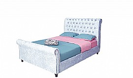 Downton Crushed Silver Velvet Bedstead