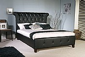 Epsilon Black Faux Leather Bed Frame  - Limelight Beds