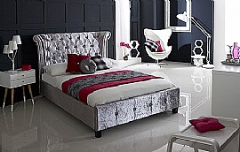 Epsilon Bed Frame (Crushed Ice Velvet Fabric) - Limelight Beds