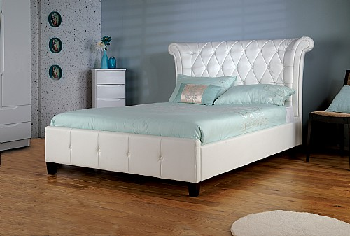 Epsilon Bed Frame (White Faux Leather) - Limelight Beds