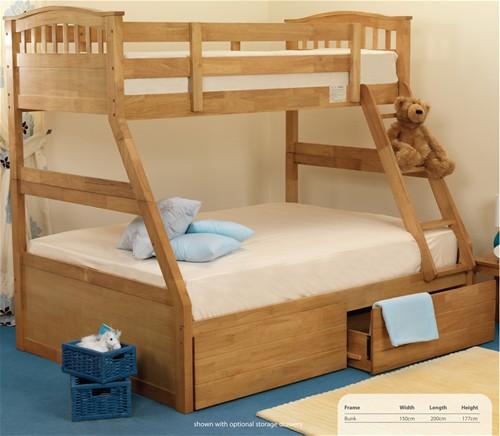 Epsom 3 Sleeper Bunk Bed Oak Finish Sweet Dreams