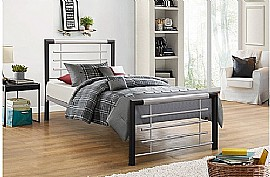 Faro Single Bed Frame(Silver/Black) - Birlea