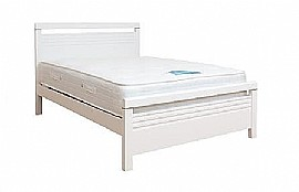 Fion White Wood Bed