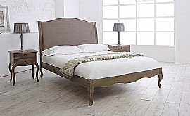 Genevieve Bed Frame (Biscuit Fabric with Oak) - Limelight Beds