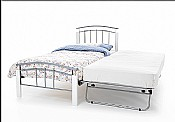 Tetras Single Bed & Guest Bed (White/Silver) - Serene Furnishings