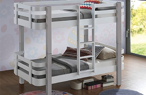 Trendy Wood Bunk Bed (White and Grey)- Sweet Dreams
