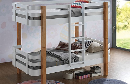 Trendy Wood Bunk Bed (White and Oak)- Sweet Dreams
