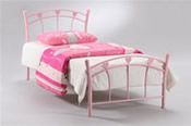 Jemima Single Metal Bed (Glossy Pink) - Serene