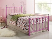 Jessica Single Metal Bed Frame (Pink) - Birlea Furniture