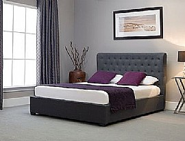 Kensington Wing Ottoman in Grey Fabric - Emporia