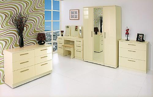 Knightsbridge Cream Gloss Bedroom Furniture