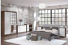 Lynx (White High Gloss/Walnut) Bedroom Furniture Range - Birlea Furniture Ltd