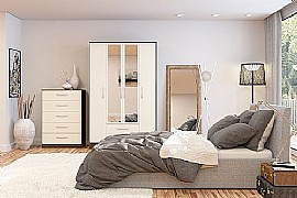 Lynx (Cream High Gloss & Walnut) Bedroom Furniture Range - Birlea Furniture Ltd