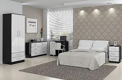 Lynx (Black with Gloss White) Bedroom Furniture Range