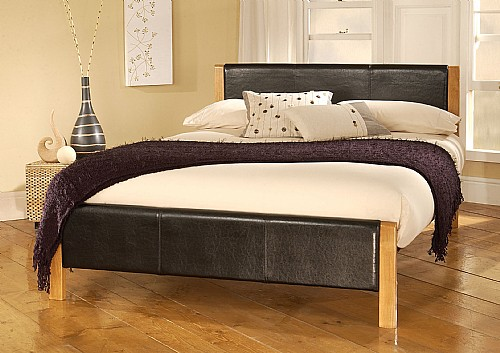 Mira Black Bed Frame (Faux Leather) - Limelight Beds