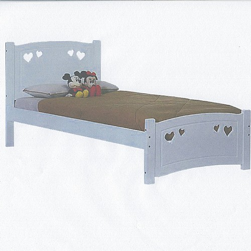 Madeline Heart Wood Bed Frame (White) - Ambers International