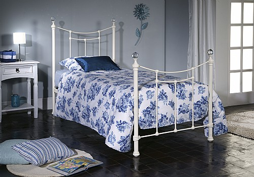 Metis Bed Frame (Ivory Gloss / Crystal) - Limelight Beds