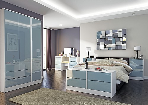 Monaco Grey Gloss Bedroom Range (14 colour combinations available) - Welcome Furniture