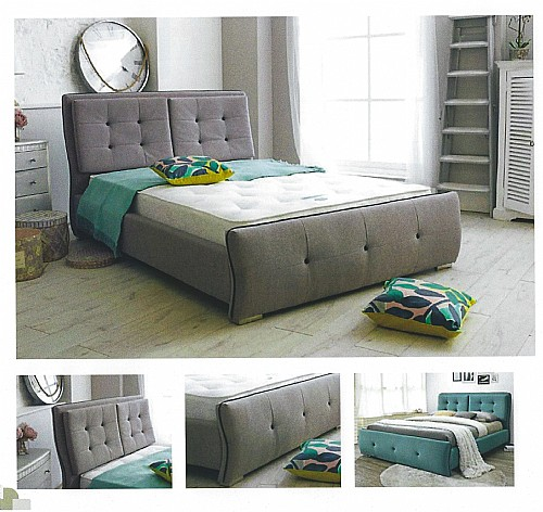 Monaco Fabric Bed Frame (Teal or Grey) - Ambers International