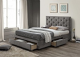 Monet Fabric Bed Frame with 3 Storage Drawers (Grey Marl) - Limelight Beds