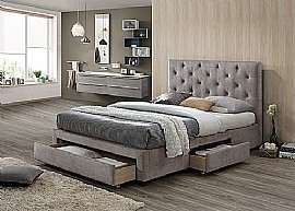 Monet Fabric Bed Frame with 3 Storage Drawers (Mink Velvet) - Limelight Beds