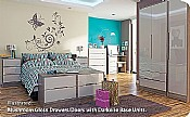 Monaco Mushroom Gloss Bedroom Furniture (14 Combinations available)