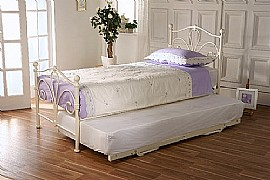 Lunar 3ft Trundle Guest Bed (Ivory Gloss) - Limelight