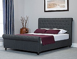 Oxford Scroll Ottoman Storage Bed (Grey Fabric) - Emporia